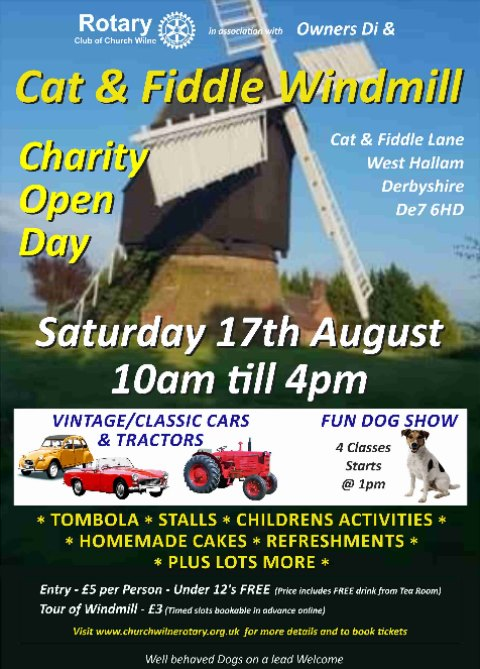 poster for the Cat and Fiddle Windmill Charity Open Day 2019 in Derby