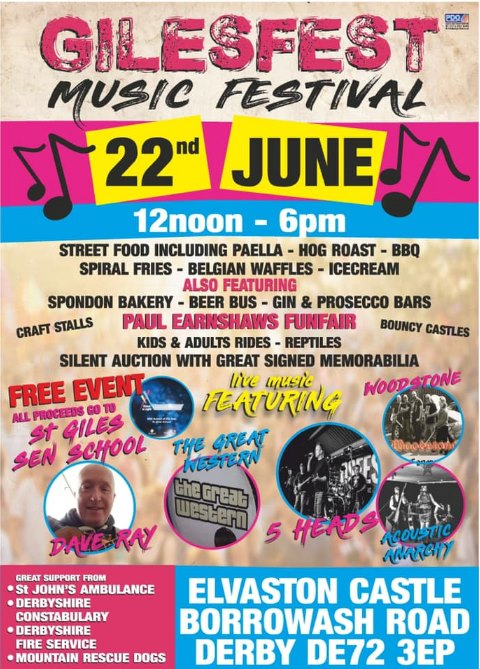 poster for Gilesfest Music Festival 2019 in Derby