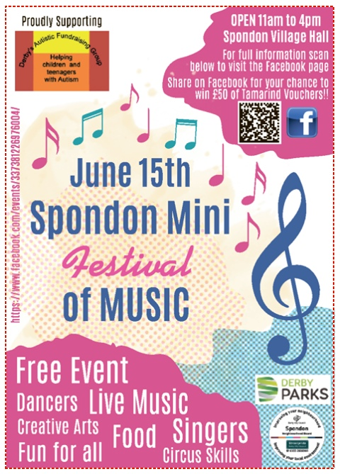 poster for Spondon Mini Festival June 15th 2019 in Derby